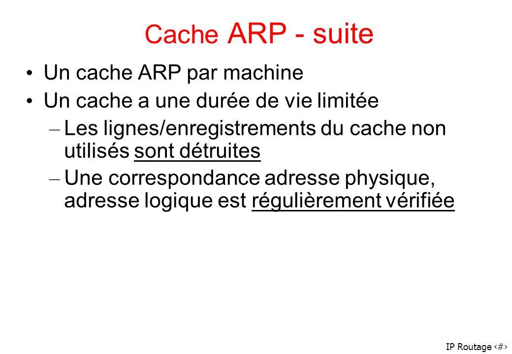 Cache ARP - suite Un cache ARP par machine