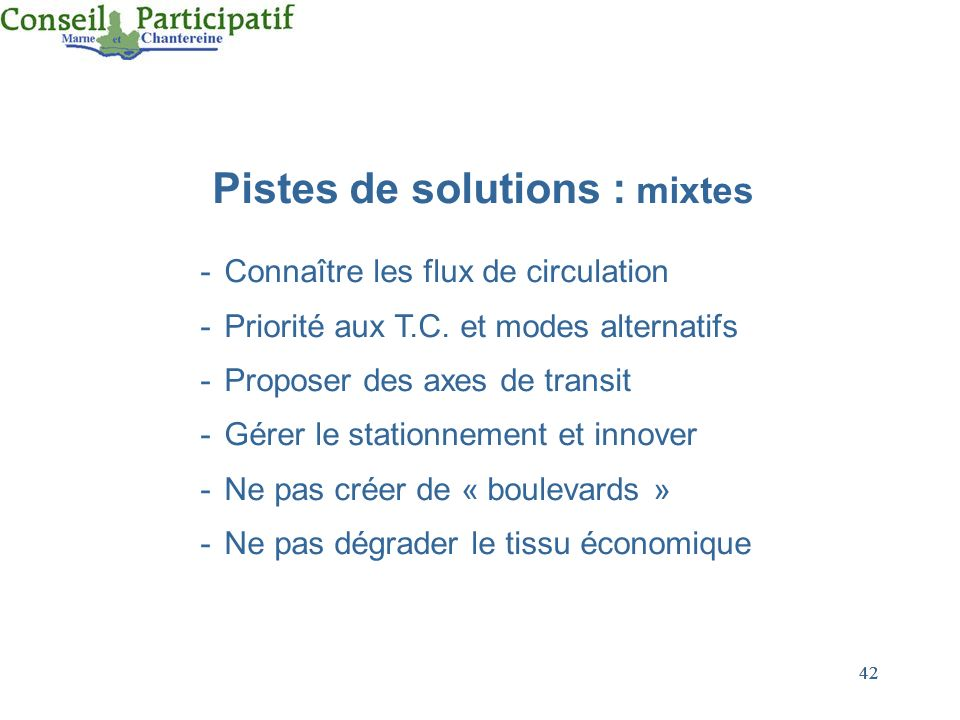 Pistes de solutions : mixtes