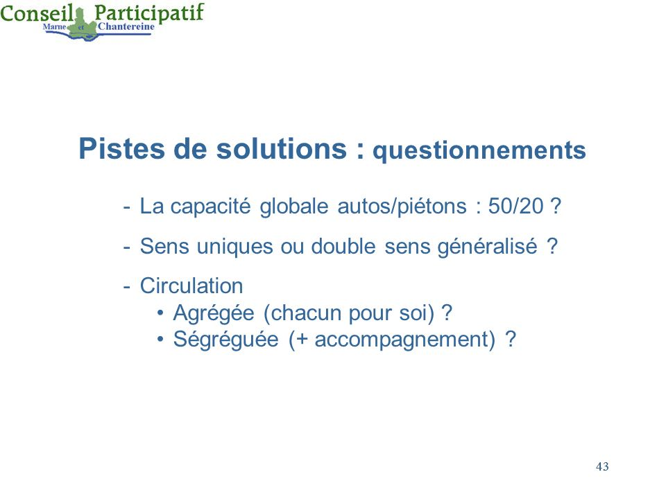 Pistes de solutions : questionnements