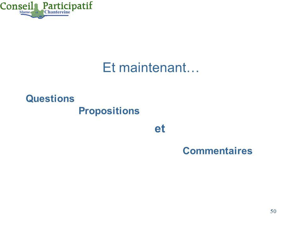 Et maintenant… Questions Propositions et Commentaires 50