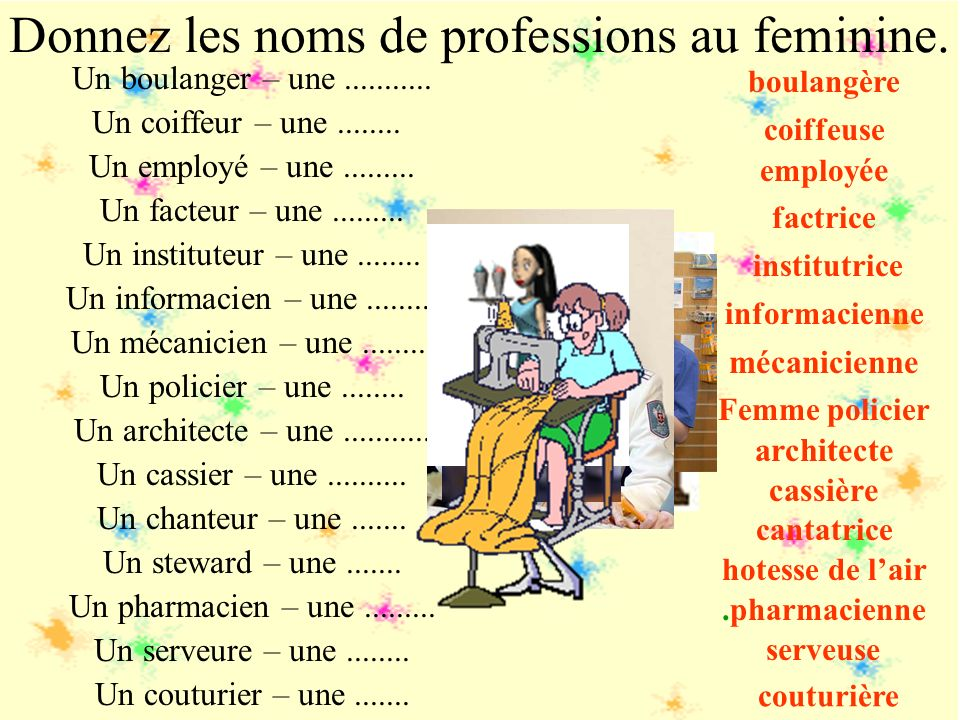 Donnez les noms de professions au feminine.