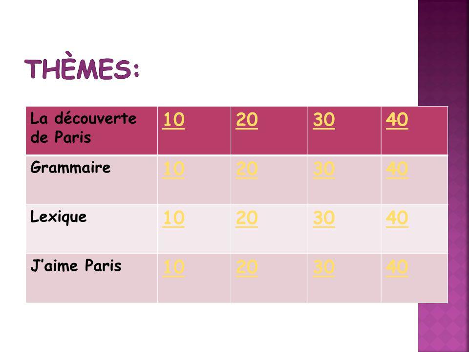 Thèmes: 10 20 30 40 La découverte de Paris Grammaire Lexique