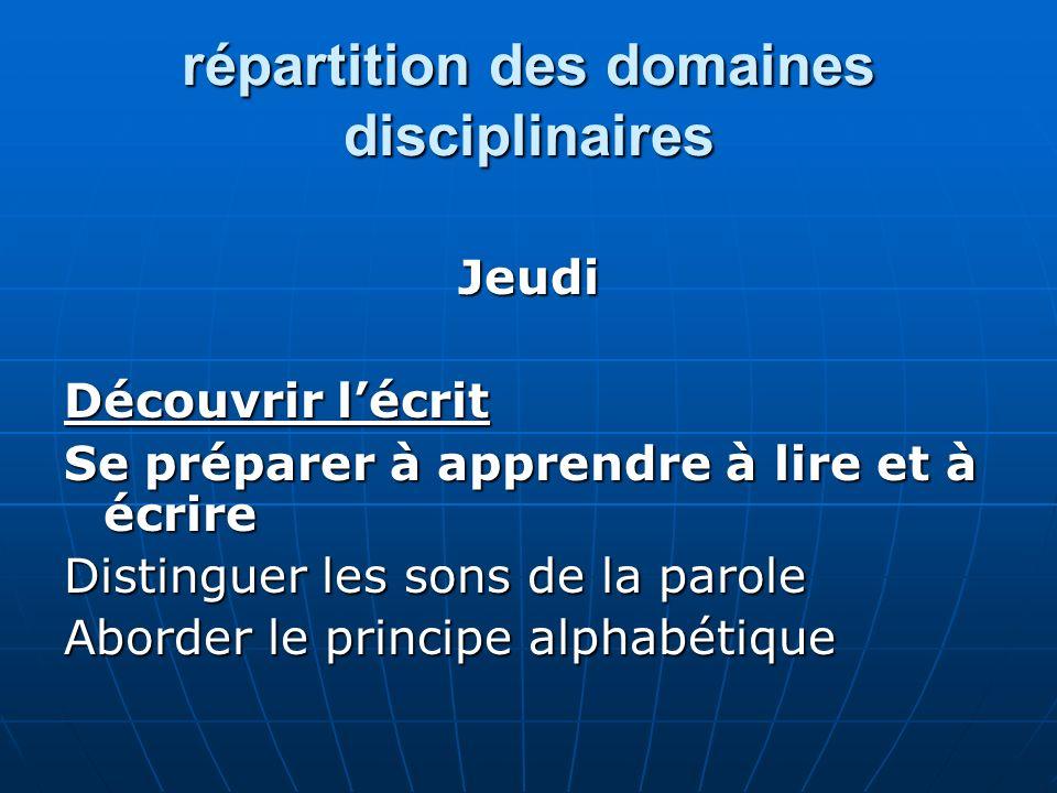 répartition des domaines disciplinaires