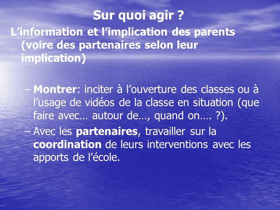 Sur quoi agir L'information et l'implication des parents (voire des partenaires selon leur implication)