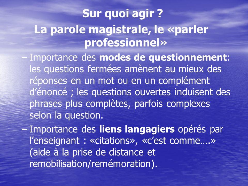 La parole magistrale, le «parler professionnel»