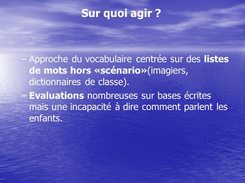 Sur quoi agir Approche du vocabulaire centrée sur des listes de mots hors «scénario»(imagiers, dictionnaires de classe).