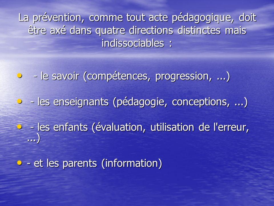 La prévention, comme tout acte pédagogique, doit être axé dans quatre directions distinctes mais indissociables :