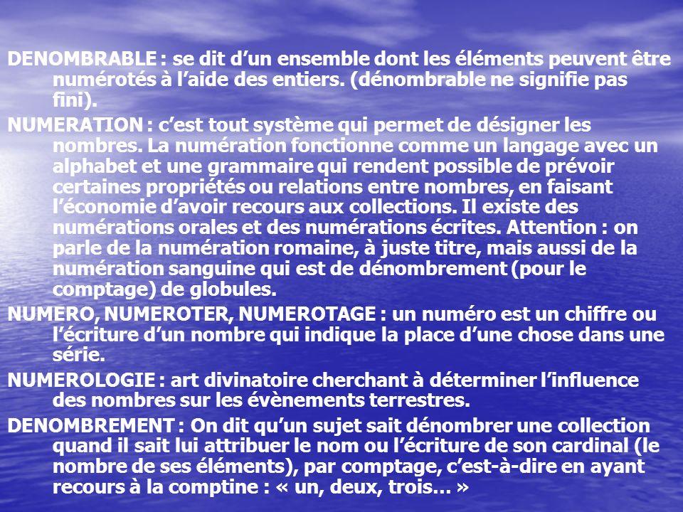 DENOMBRABLE : se dit d'un ensemble dont les éléments peuvent être numérotés à l'aide des entiers. (dénombrable ne signifie pas fini).
