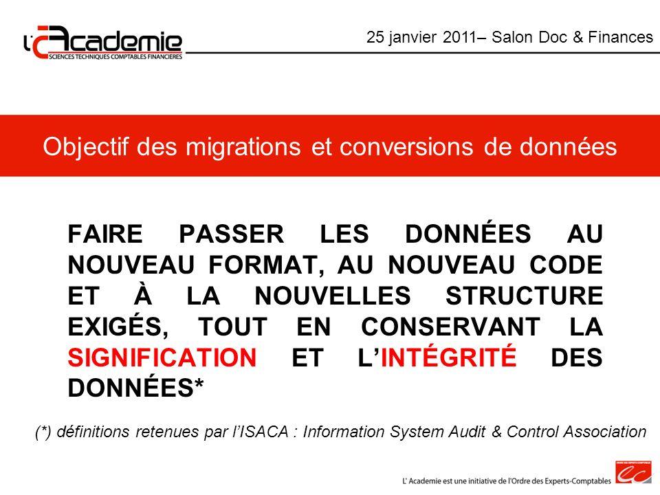Objectif des migrations et conversions de données