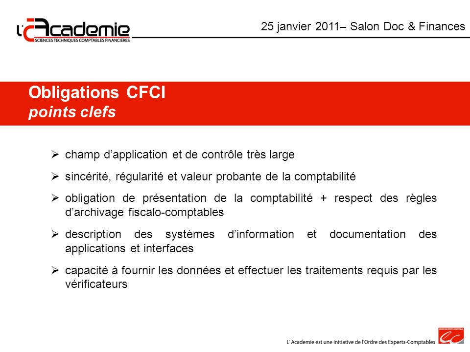 Obligations CFCI points clefs