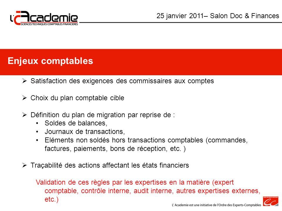 Enjeux comptables 25 janvier 2011– Salon Doc & Finances