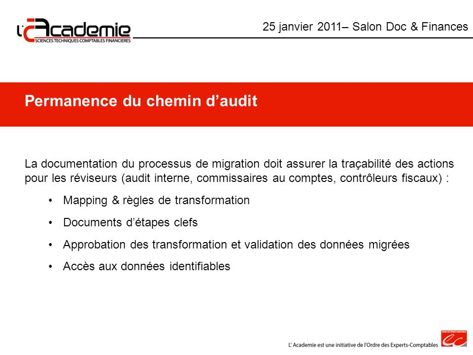 Permanence du chemin d'audit