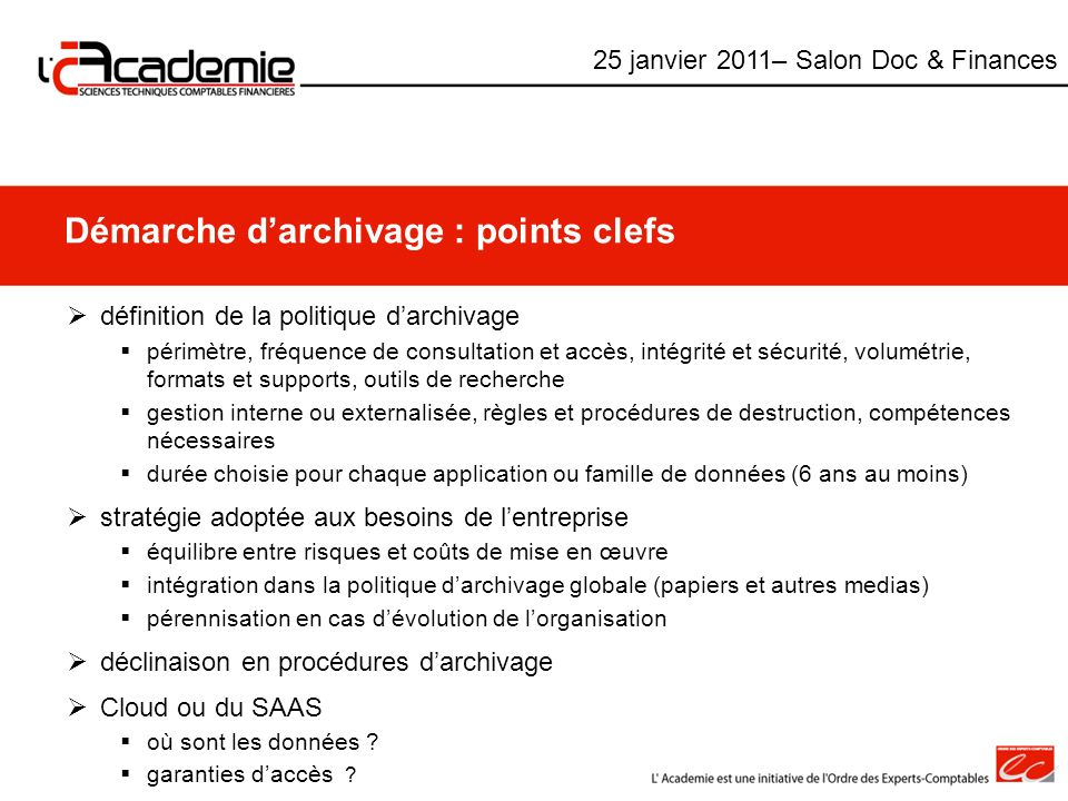 Démarche d'archivage : points clefs