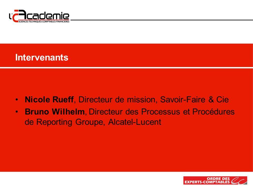 Intervenants Nicole Rueff, Directeur de mission, Savoir-Faire & Cie