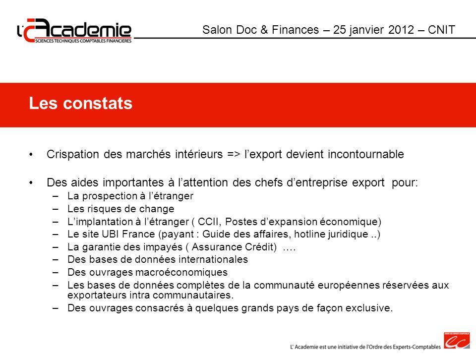 Les constats Salon Doc & Finances – 25 janvier 2012 – CNIT