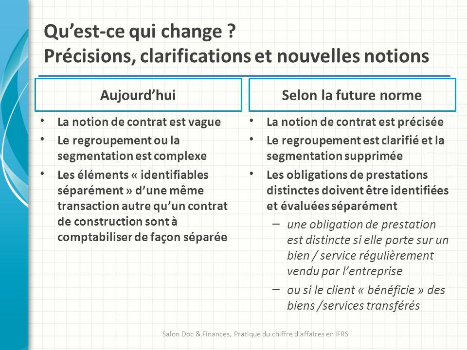 Qu'est-ce qui change Précisions, clarifications et nouvelles notions