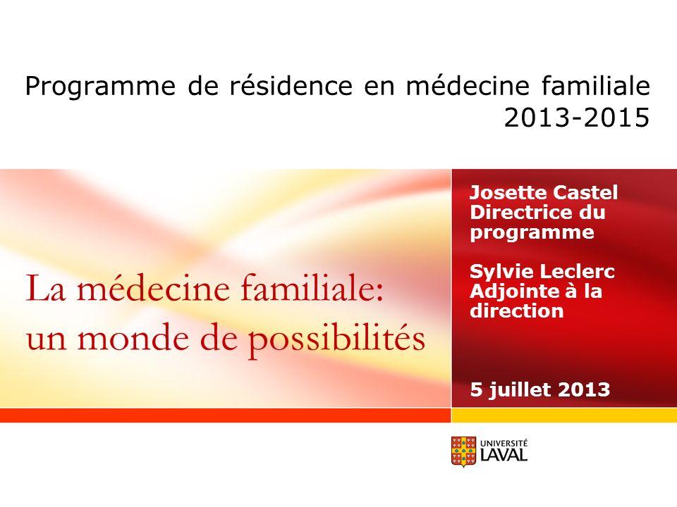 Programme de résidence en médecine familiale 2013-2015