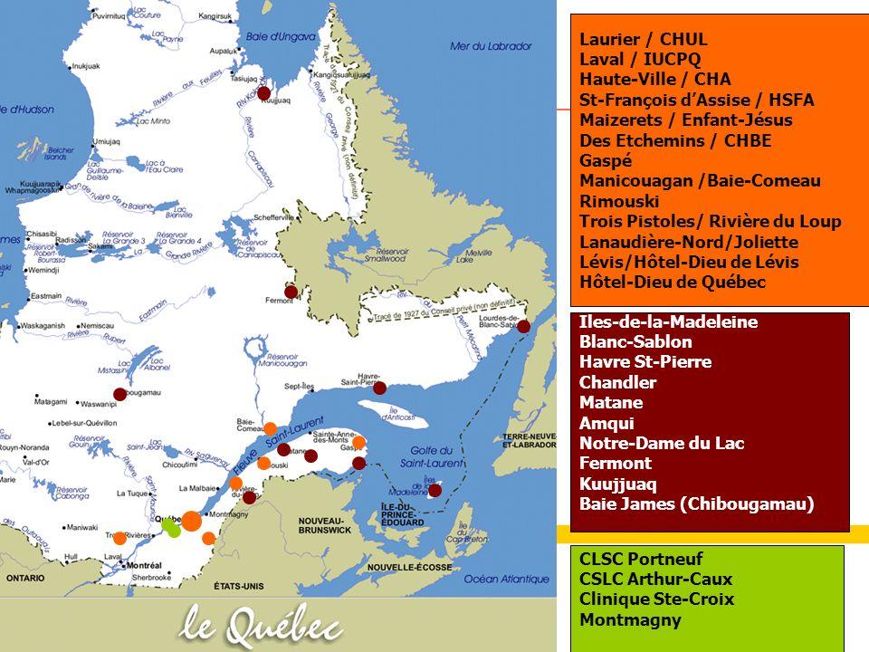 Laurier / CHUL Laval / IUCPQ. Haute-Ville / CHA. St-François d'Assise / HSFA. Maizerets / Enfant-Jésus.