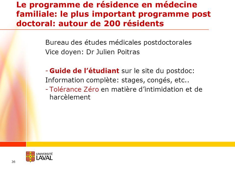 Le programme de résidence en médecine familiale: le plus important programme post doctoral: autour de 200 résidents