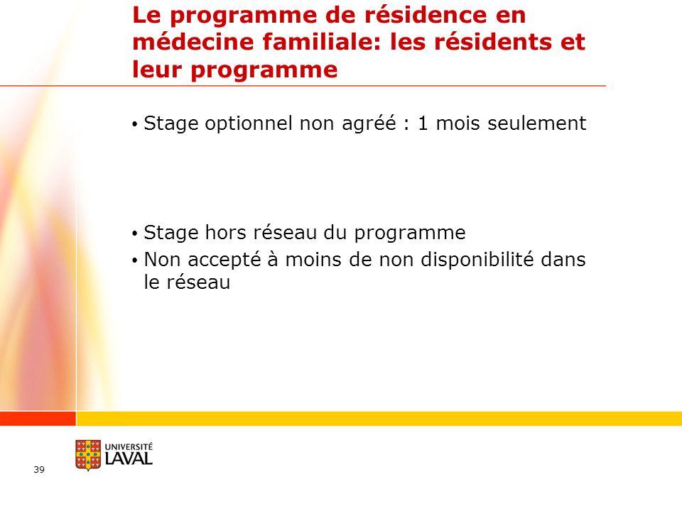 Le programme de résidence en médecine familiale: les résidents et leur programme