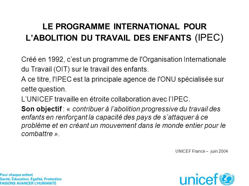 LE PROGRAMME INTERNATIONAL POUR L'ABOLITION DU TRAVAIL DES ENFANTS (IPEC)