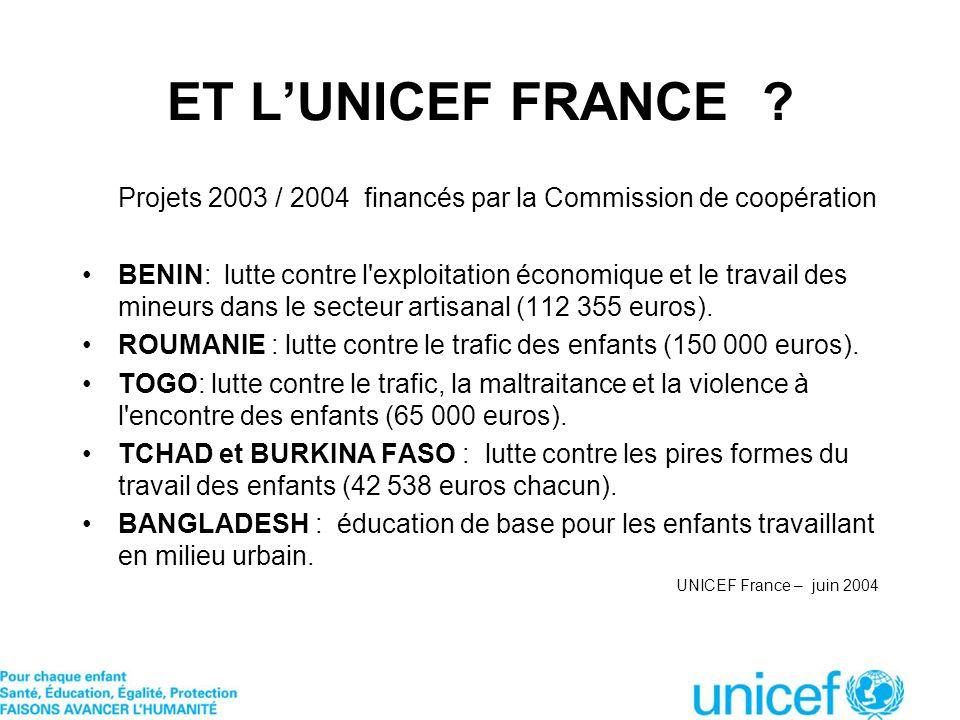 ET L'UNICEF FRANCE Projets 2003 / 2004 financés par la Commission de coopération.