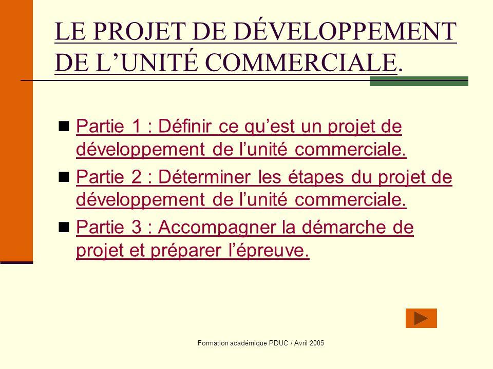 LE PROJET DE DÉVELOPPEMENT DE L'UNITÉ COMMERCIALE.