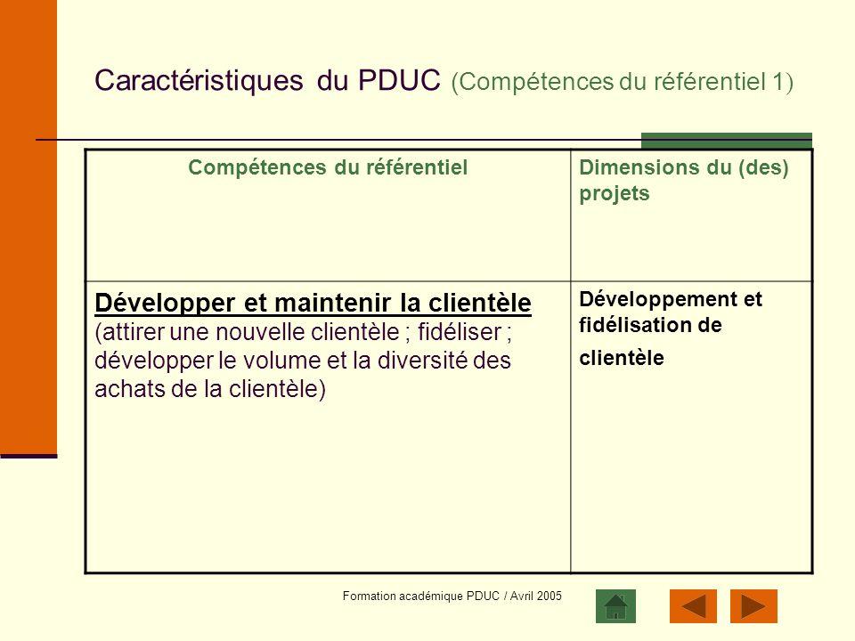 Caractéristiques du PDUC (Compétences du référentiel 1)