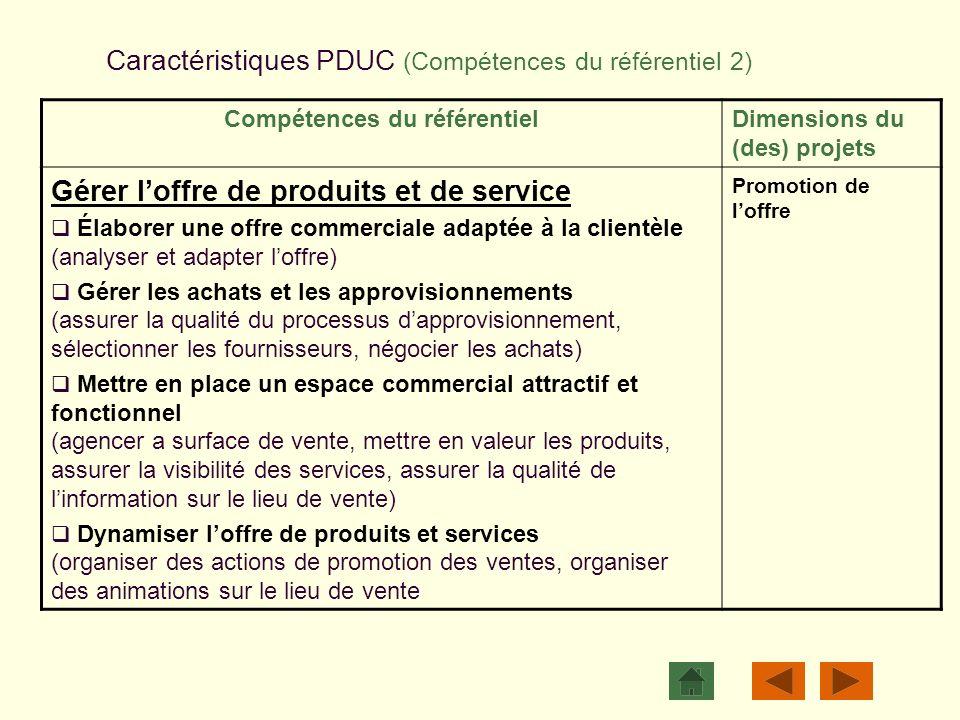 Caractéristiques PDUC (Compétences du référentiel 2)