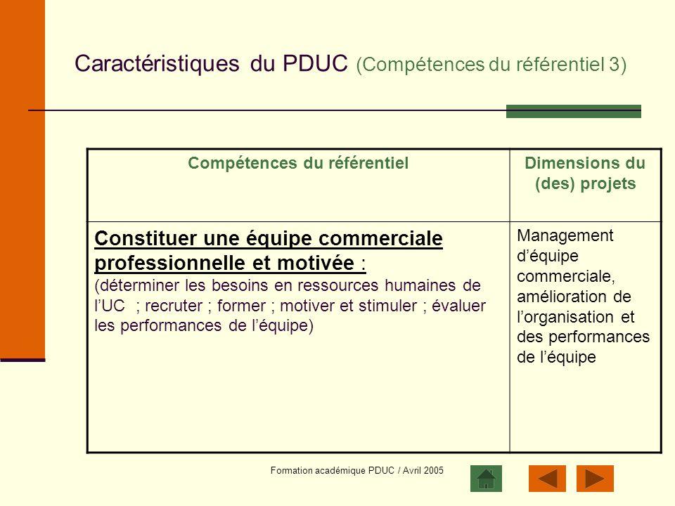 Caractéristiques du PDUC (Compétences du référentiel 3)