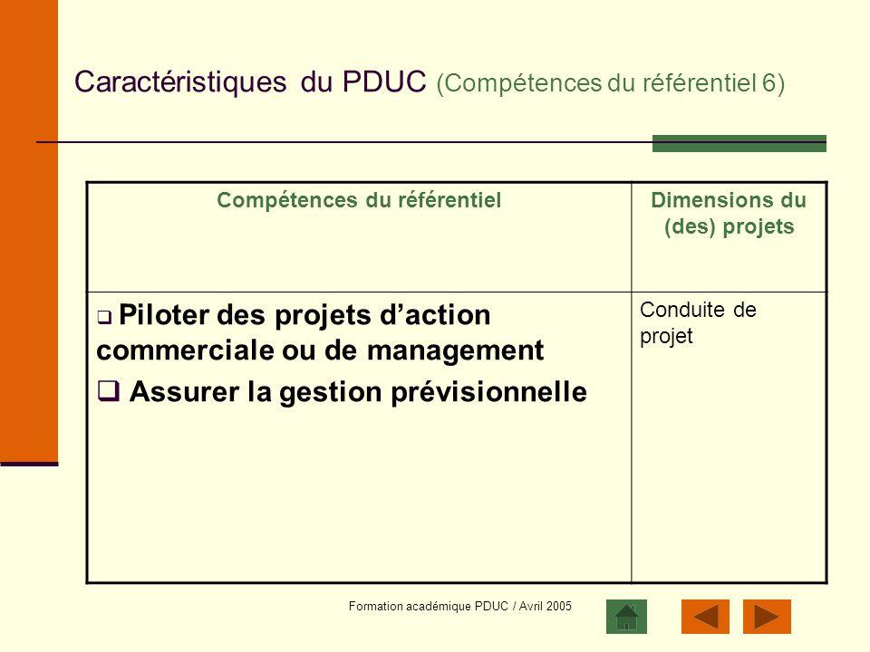 Caractéristiques du PDUC (Compétences du référentiel 6)