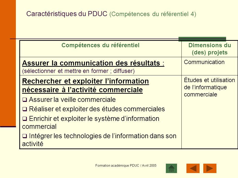 Caractéristiques du PDUC (Compétences du référentiel 4)