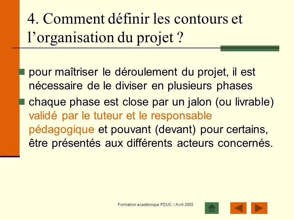 4. Comment définir les contours et l'organisation du projet