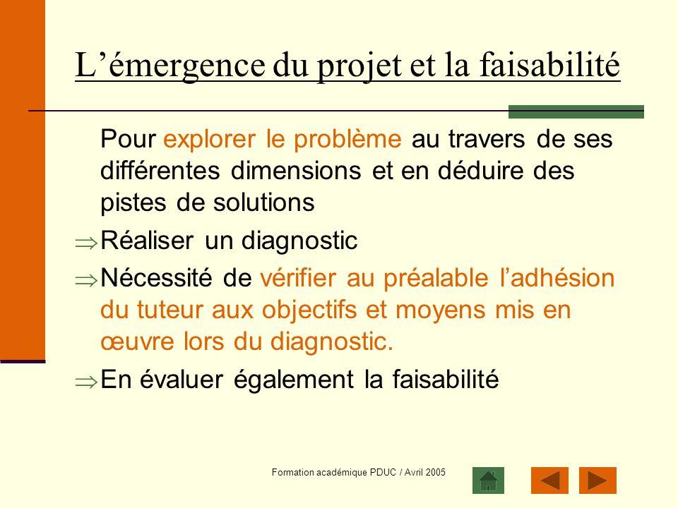 L'émergence du projet et la faisabilité