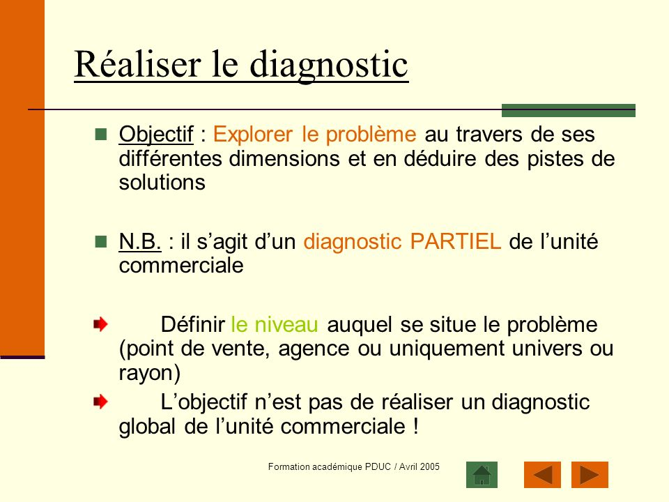 Réaliser le diagnostic