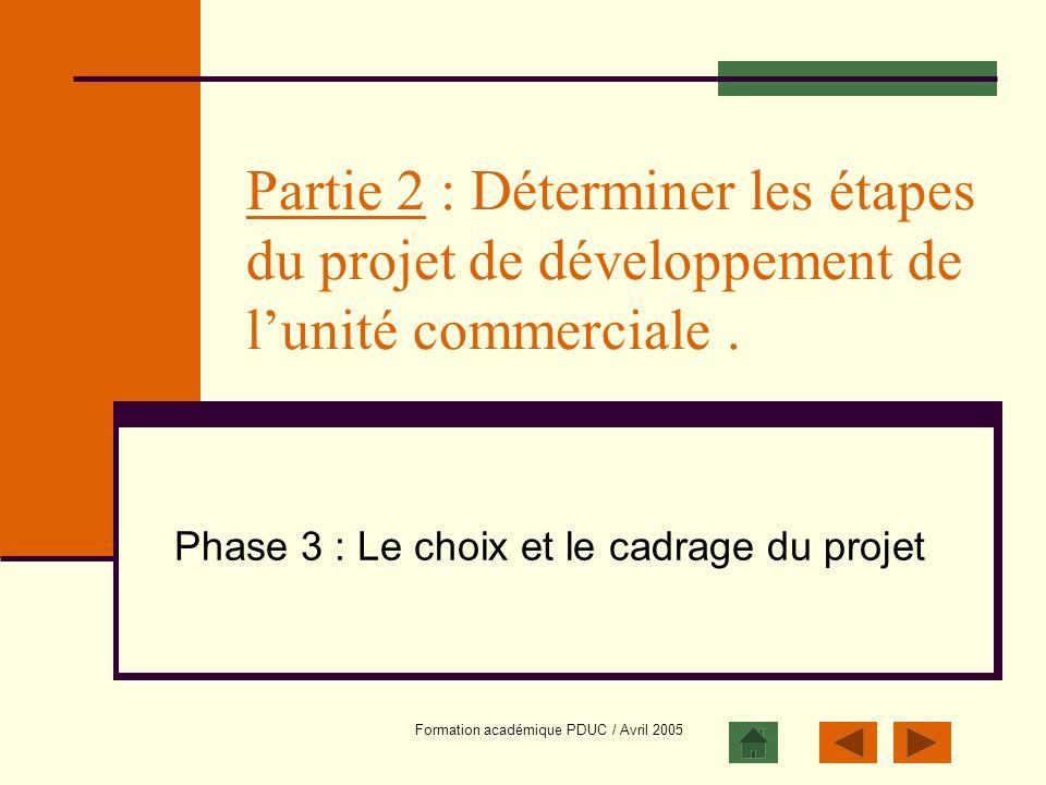 Phase 3 : Le choix et le cadrage du projet