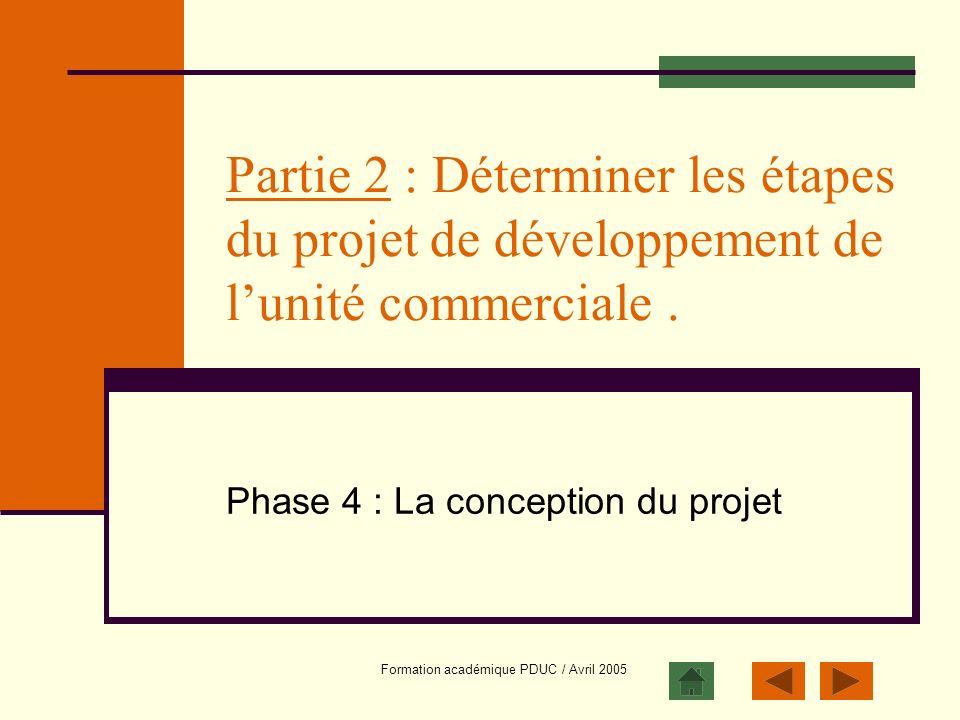 Phase 4 : La conception du projet