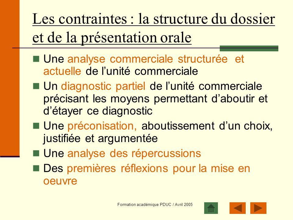 Les contraintes : la structure du dossier et de la présentation orale