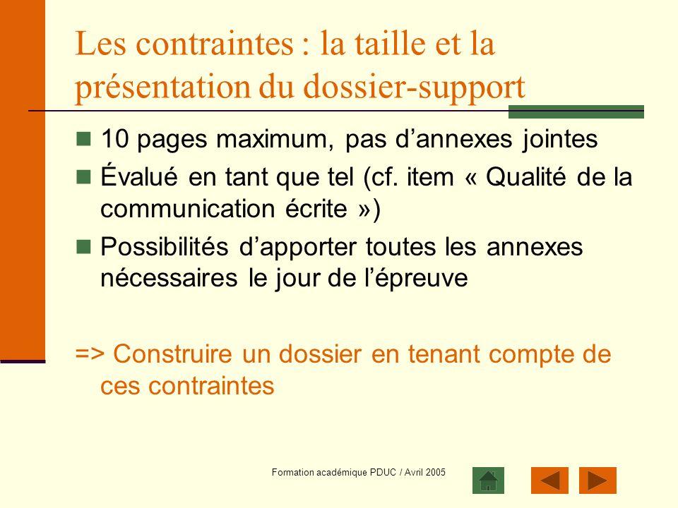 Les contraintes : la taille et la présentation du dossier-support