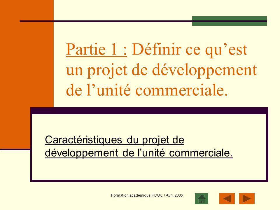 Caractéristiques du projet de développement de l'unité commerciale.