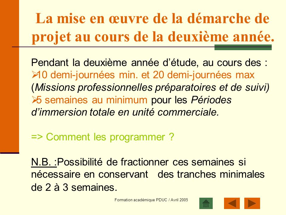 Formation académique PDUC / Avril 2005