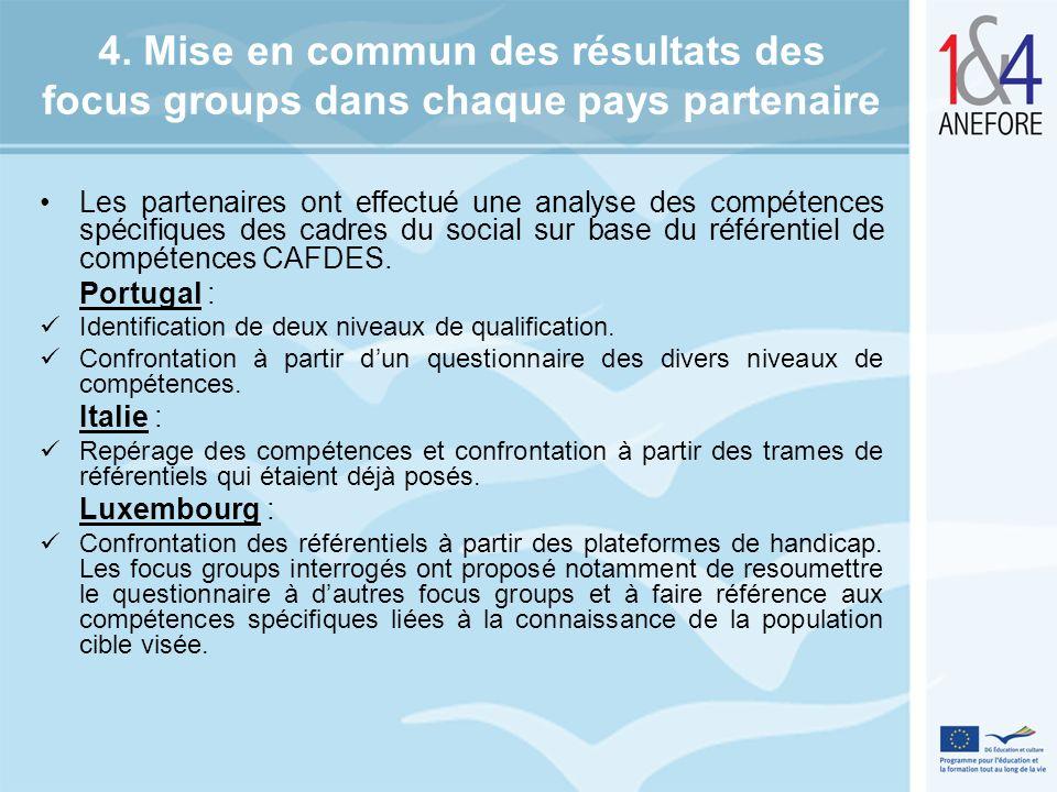 4. Mise en commun des résultats des focus groups dans chaque pays partenaire