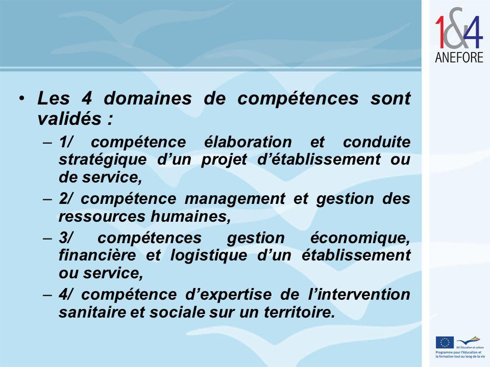 Les 4 domaines de compétences sont validés :