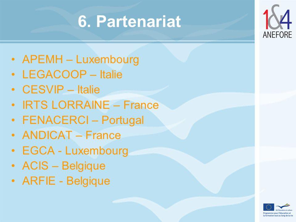6. Partenariat APEMH – Luxembourg LEGACOOP – Italie CESVIP – Italie