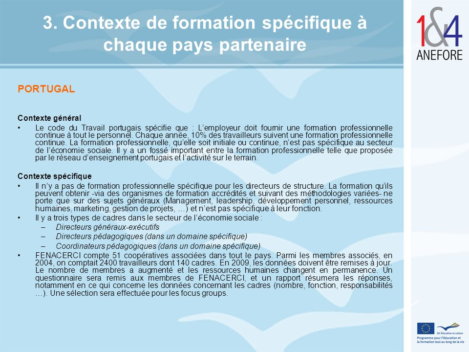 3. Contexte de formation spécifique à chaque pays partenaire