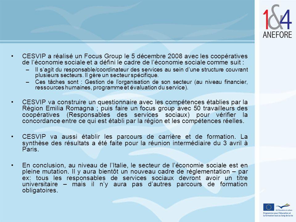 CESVIP a réalisé un Focus Group le 5 décembre 2008 avec les coopératives de l'économie sociale et a défini le cadre de l'économie sociale comme suit :