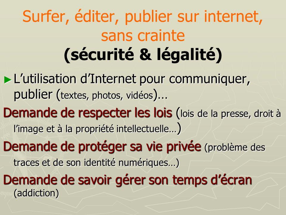 Surfer, éditer, publier sur internet, sans crainte (sécurité & légalité)