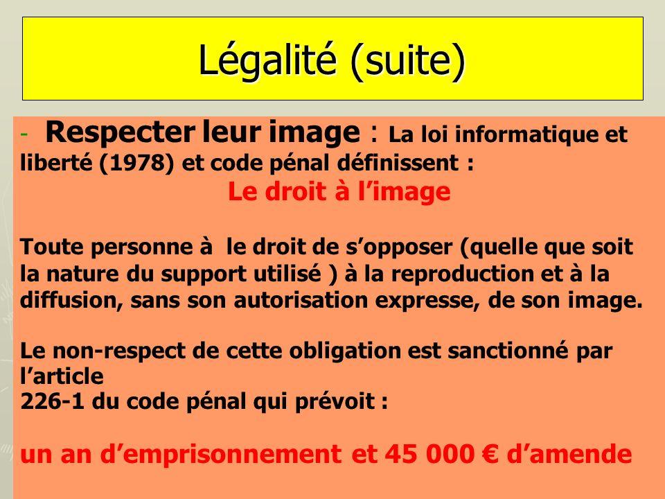 Légalité (suite) Respecter leur image : La loi informatique et