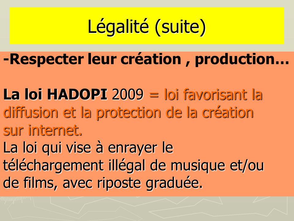 Légalité (suite) -Respecter leur création , production…
