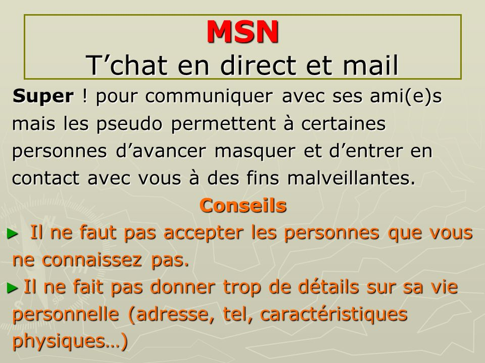 MSN T'chat en direct et mail